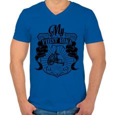 PRINTFASHION Az első biciklim - Férfi V-nyakú póló - Királykék