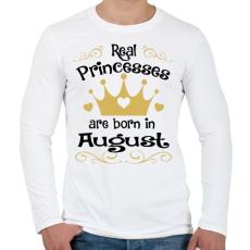 PRINTFASHION Az igazi hercegnők augusztusban születnek - Férfi hosszú ujjú póló - Fehér
