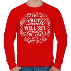 PRINTFASHION Az igazság szabaddá tesz - Férfi pulóver - Piros