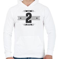 PRINTFASHION b-day-02-dark-lightgrey - Férfi kapucnis pulóver - Fehér
