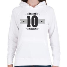 PRINTFASHION b-day-10-dark-lightgrey - Női kapucnis pulóver - Fehér