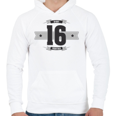 PRINTFASHION b-day-16-dark-lightgrey - Férfi kapucnis pulóver - Fehér