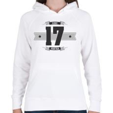 PRINTFASHION b-day-17-dark-lightgrey - Női kapucnis pulóver - Fehér