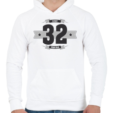 PRINTFASHION b-day-32-dark-lightgrey - Férfi kapucnis pulóver - Fehér