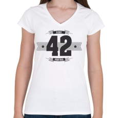 PRINTFASHION b-day-42-dark-lightgrey - Női V-nyakú póló - Fehér