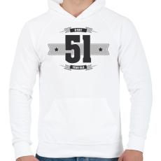 PRINTFASHION b-day-51-dark-lightgrey - Férfi kapucnis pulóver - Fehér
