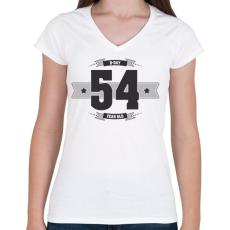 PRINTFASHION b-day-54-dark-lightgrey - Női V-nyakú póló - Fehér