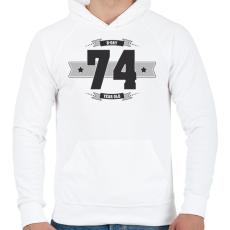 PRINTFASHION b-day-74-dark-lightgrey - Férfi kapucnis pulóver - Fehér