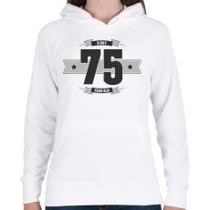 PRINTFASHION b-day-75-dark-lightgrey - Női kapucnis pulóver - Fehér