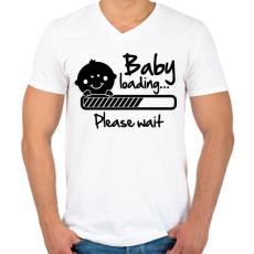 PRINTFASHION Baba folyamatban - Férfi V-nyakú póló - Fehér