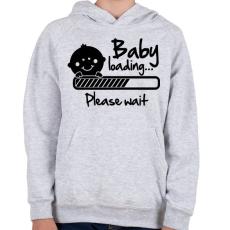 PRINTFASHION Baba folyamatban - Gyerek kapucnis pulóver - Sport szürke