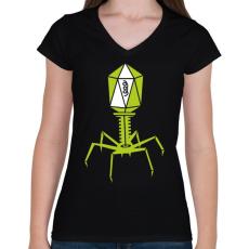 PRINTFASHION bakteriofág - Női V-nyakú póló - Fekete