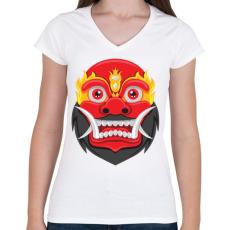 PRINTFASHION Bali Maszk - Női V-nyakú póló - Fehér