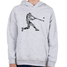 PRINTFASHION Baseball játékos - Gyerek kapucnis pulóver - Sport szürke