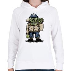 PRINTFASHION Baseball szörny - Női kapucnis pulóver - Fehér