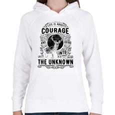 PRINTFASHION Bátorság - Női kapucnis pulóver - Fehér
