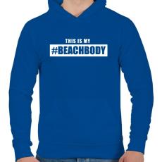 PRINTFASHION #BEACHBODY - Férfi kapucnis pulóver - Királykék