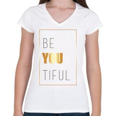 PRINTFASHION Beatiful - Női V-nyakú póló - Fehér