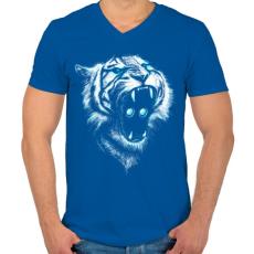 PRINTFASHION Befolyás ereje - Férfi V-nyakú póló - Királykék