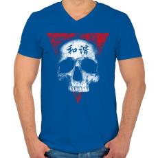 PRINTFASHION Békés koponya - Férfi V-nyakú póló - Királykék