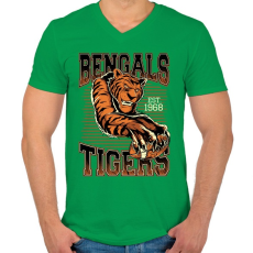 PRINTFASHION Bengáli tigris - Férfi V-nyakú póló - Zöld