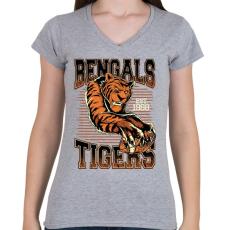 PRINTFASHION Bengáli tigris - Női V-nyakú póló - Sport szürke