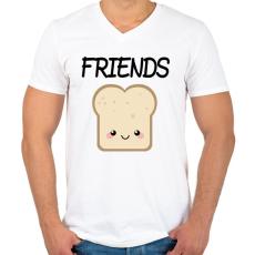 PRINTFASHION Best Friends - Nutellás kenyér 2 - Férfi V-nyakú póló - Fehér