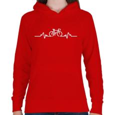 PRINTFASHION BIKE - Női kapucnis pulóver - Piros