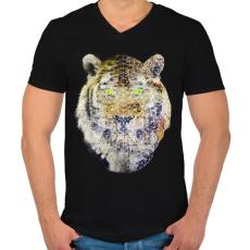 PRINTFASHION Biometrikus tigris - Férfi V-nyakú póló - Fekete