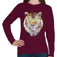 PRINTFASHION Biometrikus tigris - Női pulóver - Bordó