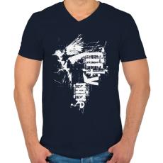 PRINTFASHION birdi59-02-01 - Férfi V-nyakú póló - Sötétkék