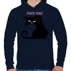 PRINTFASHION Black cat - Férfi kapucnis pulóver - Sötétkék