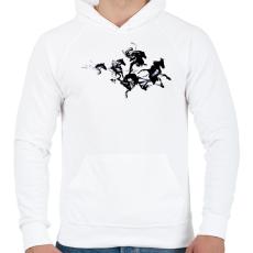 PRINTFASHION Black horses - Férfi kapucnis pulóver - Fehér
