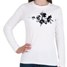 PRINTFASHION Black horses - Női hosszú ujjú póló - Fehér