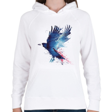 PRINTFASHION Bloody crow - Női kapucnis pulóver - Fehér