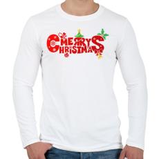 PRINTFASHION Boldog karácsonyt - Férfi hosszú ujjú póló - Fehér