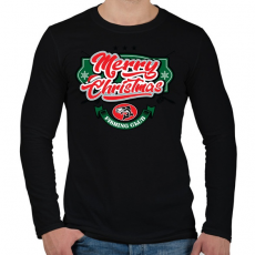 PRINTFASHION Boldog Karácsonyt - Horgászklub - Férfi hosszú ujjú póló - Fekete