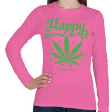 PRINTFASHION Boldogság gyomja - Női hosszú ujjú póló - Rózsaszín