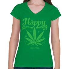 PRINTFASHION Boldogság gyomja - Női V-nyakú póló - Zöld