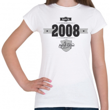 PRINTFASHION born-in-2008-(dark&lightgrey) - Női póló - Fehér női póló