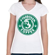 PRINTFASHION Boxer coffe - Női V-nyakú póló - Fehér