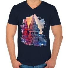PRINTFASHION budapest01 - Férfi V-nyakú póló - Sötétkék