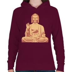 PRINTFASHION Buddha - Női kapucnis pulóver - Bordó