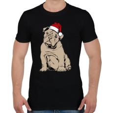 PRINTFASHION Bulldog karácsony - Férfi póló - Fekete