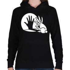 PRINTFASHION BUNNY - Női kapucnis pulóver - Fekete
