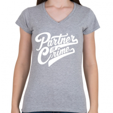 PRINTFASHION Bűntárs - Női V-nyakú póló - Sport szürke