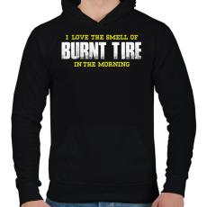 PRINTFASHION Burnt Tire - Férfi kapucnis pulóver - Fekete
