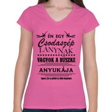 PRINTFASHION Büszke anyuka - Női V-nyakú póló - Rózsaszín
