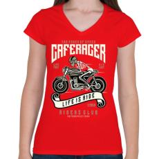 PRINTFASHION Caferacer - Női V-nyakú póló - Piros