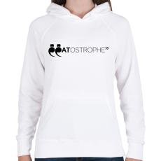 PRINTFASHION CATostrophe - Női kapucnis pulóver - Fehér